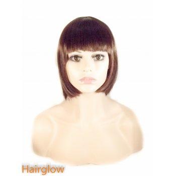 Hairglow Brown Full Fringe  Bob
