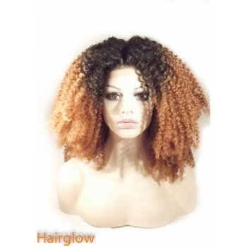 Hairglow Black/Dark Brown kinky curly  Lace Front Wig