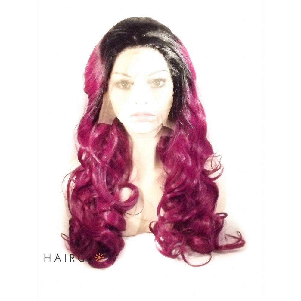 Hairglow Black Purple Wavy Ombre Lace Front Wig Hairglow