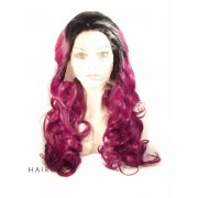 Black/Purple Wavy Ombre Lace Front Wig