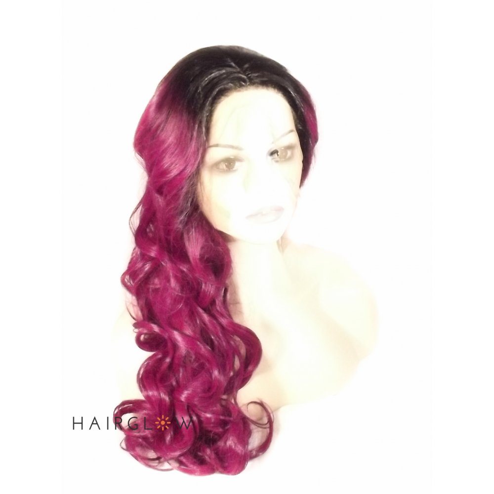 Purple And Black Lace Front Wig 112