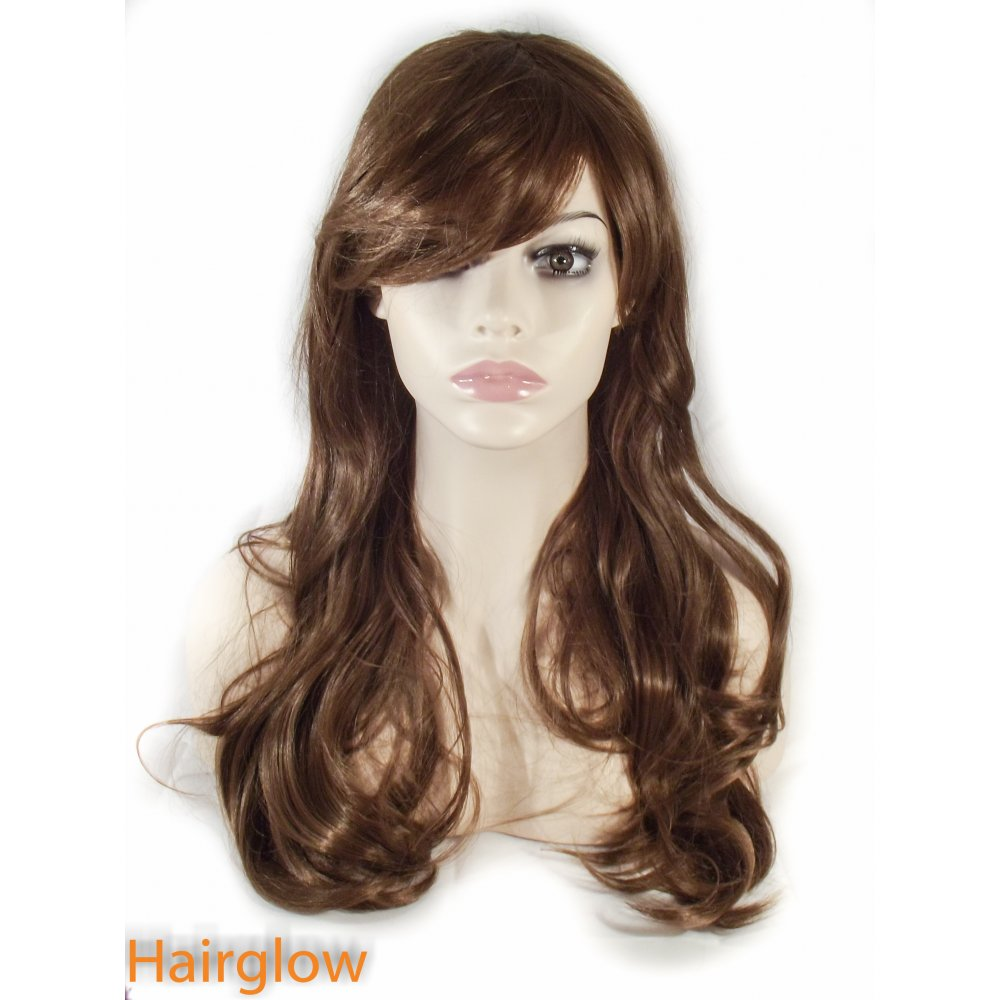 Hairglow Brown Side Fringe Long Wavy Human Hair Wig