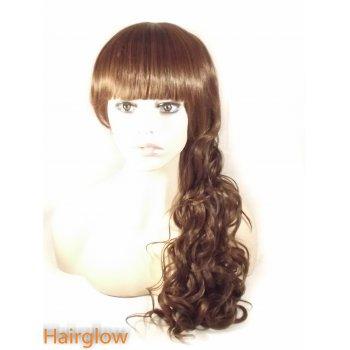 Hairglow Dark Brown full fringe curly Human Hair Wig