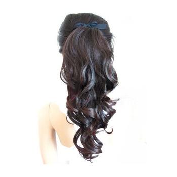 Hairglow Human Hair ribbon Wavy Ponytail