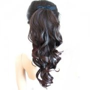 Human Hair ribbon Wavy Ponytail